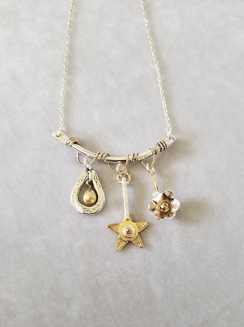 Three Charm Bar Necklace with Gold Wraps
