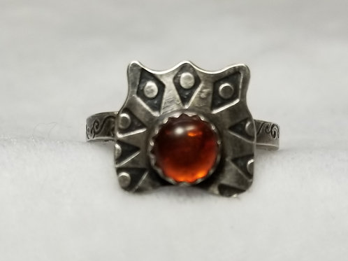 Sterling Silver Sun Ring with Amber, Size 8.5