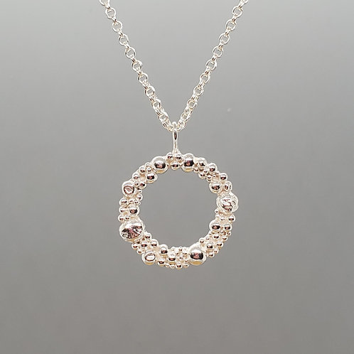 Tiny Bubbles Sterling Silver Wreath Pendant