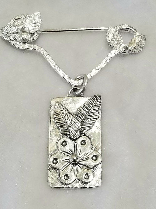 Leaves in the Corners, Single Charm Pin with Flower Charm