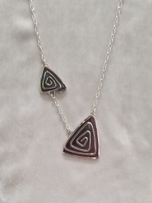 Swirls, Two Triangles Necklace