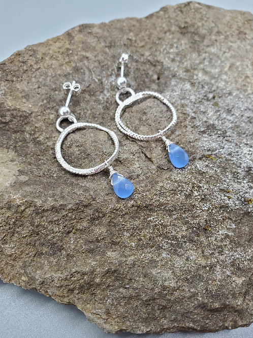 Color Drop Earrings with Blue Spinel Drops