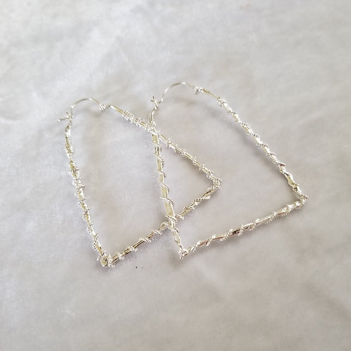Fused Circles, Large Triangle, Wrapped Silver Hoops
