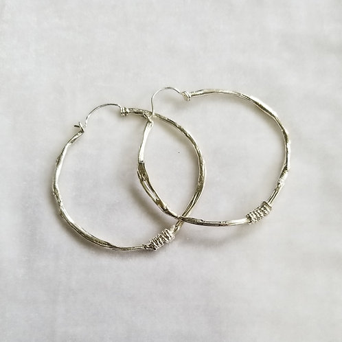 Fused Circles Large Sterling Silver Hoops