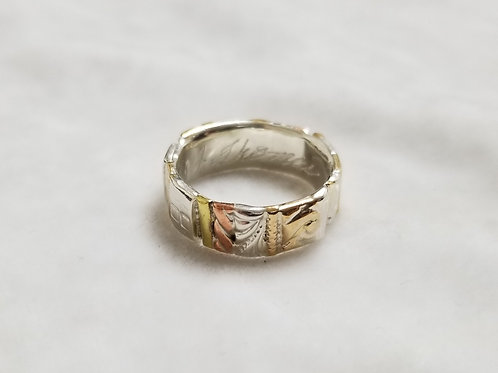 Gotham Sterling Silver and Gold Filled Ring, Size 7