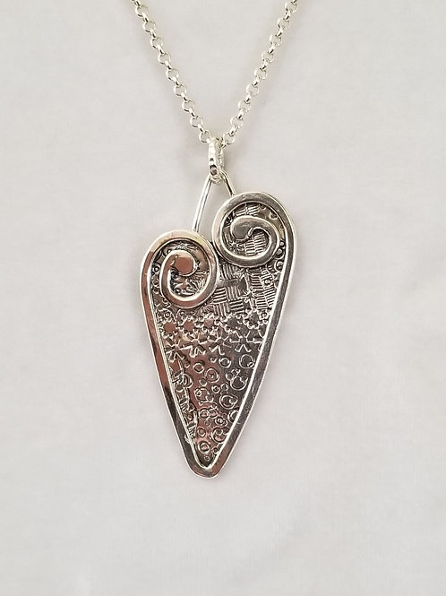 Swirly Heart Pendant with Hammered Background, Size Large