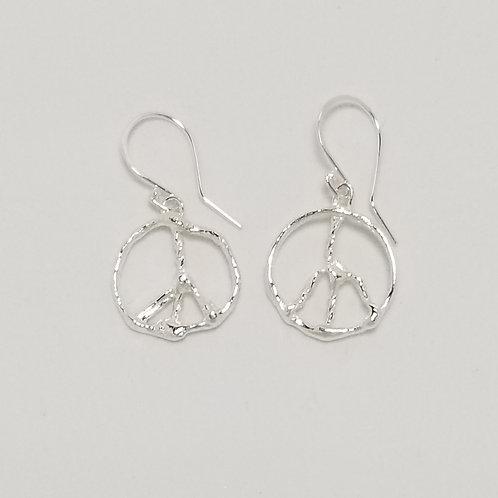 Peace Sign Earrings, Sterling Silver