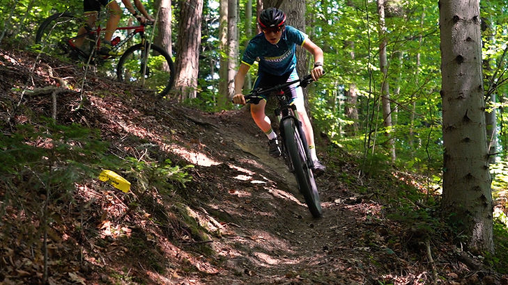 Freelap downhill mountain bike rider using tx track pro