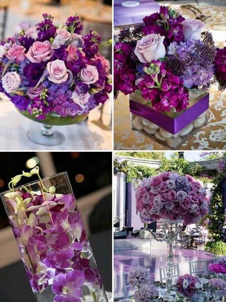 Arreglo Floral Colorido En Morado