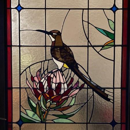 Debs' Front Door - Protea & Sugarbird.