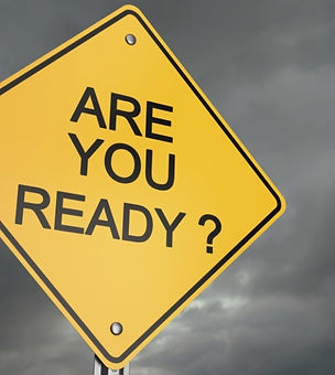 A 4-sided diamond-shaped sign that reads Are You Ready?