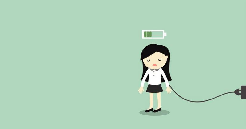 Woman recharging her batteries