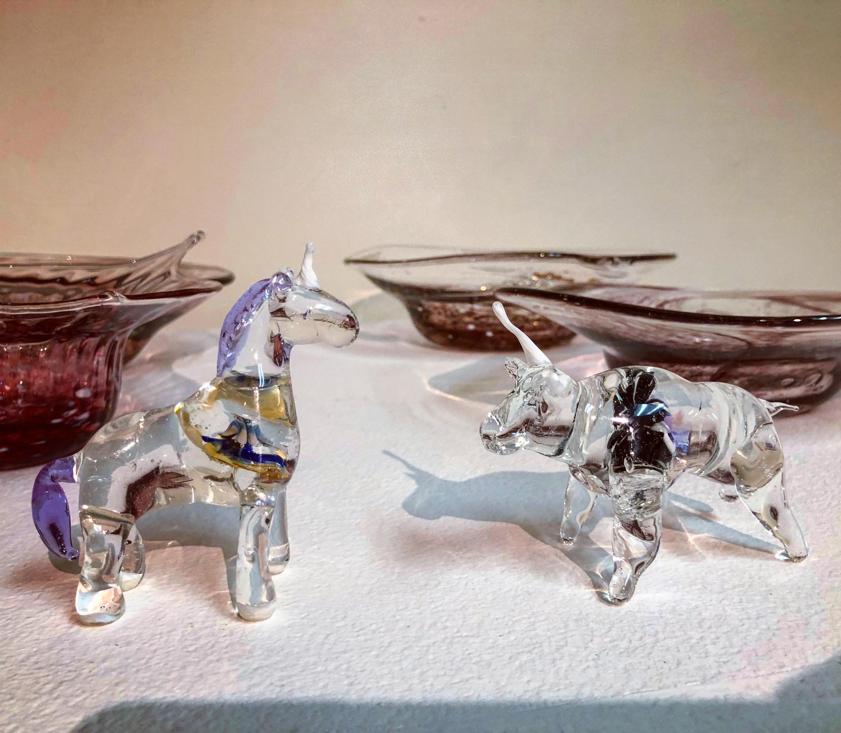 glass unicorn v.s. bull