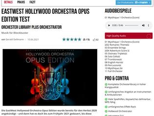 """Worth the wait"": Bonedo.de reviews Hollywood Orchestra Opus Edition - 5/5 stars!"