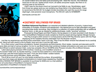 """This is so much fun"" - Music Connection reviews EastWest Hollywood Pop Brass"
