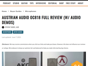 Producerhive tests the Austrian Audio OC818