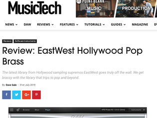 EastWest gets 9/10 stars for Hollywood Pop Brass from Music Tech!