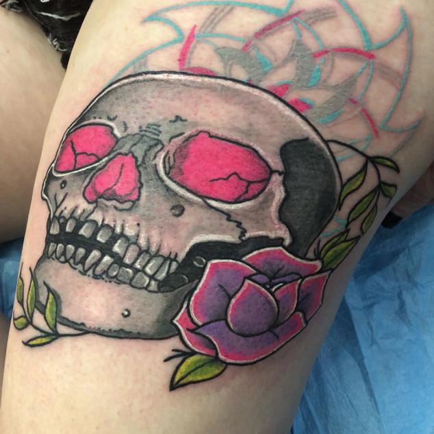 pink eyed skull