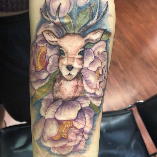 fore arm scar cover up, deer