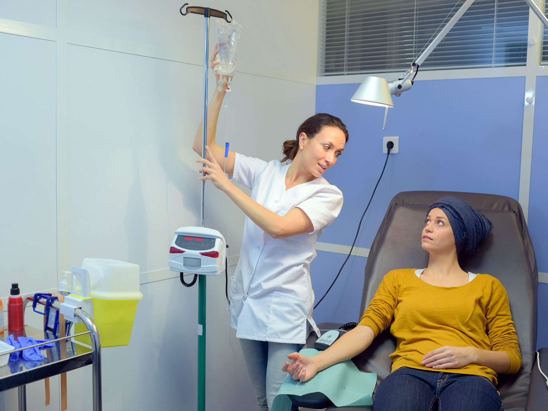 Young woman getting chemotherapy