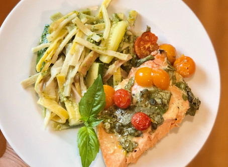 Baked Salmon & Noodles