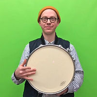 Nick Butcher playing the drum with laserpointer