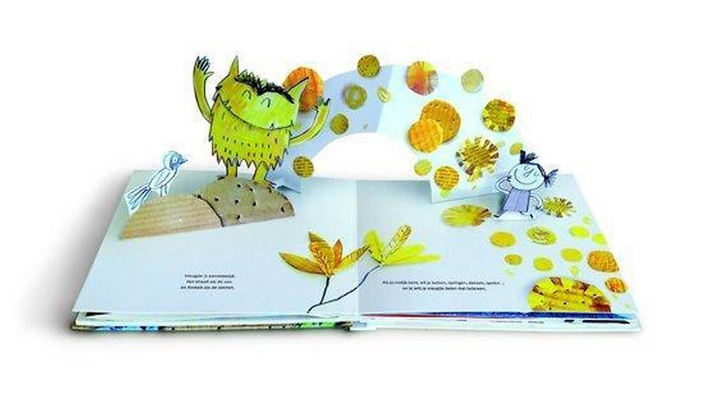 pop-upboek, kleur van emoties, anna llenas, clavis, monsters, vreugde, geel
