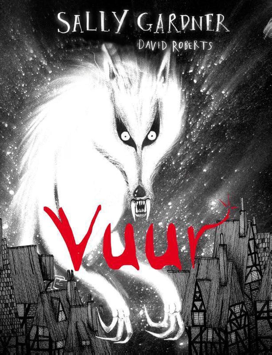 De voorkant van Vuur met een Weerwolf die boven de huizen uit torent.