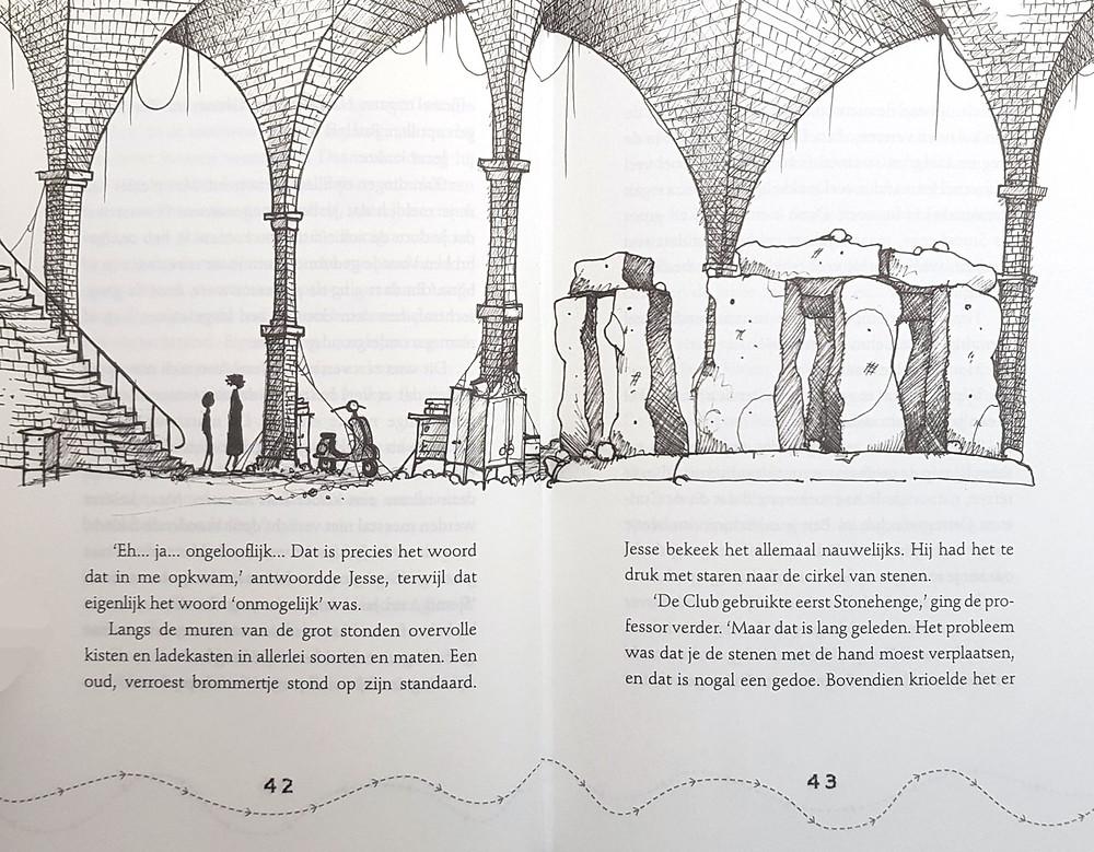 pagina 42,43, ruimteatlas, Jesse Kreek, Martin Howard, Chris Mould, stenencirkel, Stoule-Gang