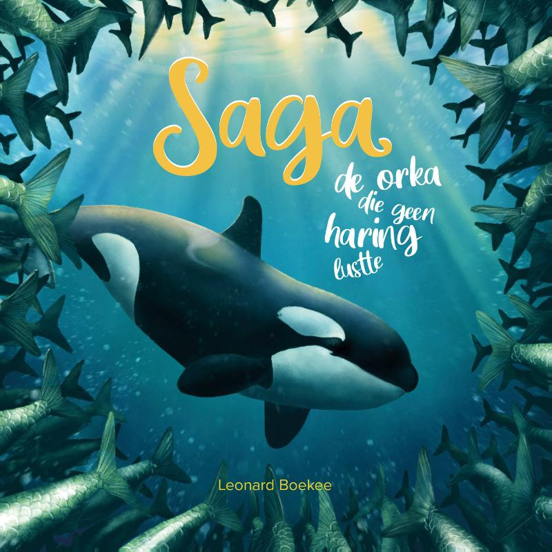 Titelpagina, saga, de orka die geen haring lustte, Leonard Boekee, informatieboek, prentenboek, verhaal