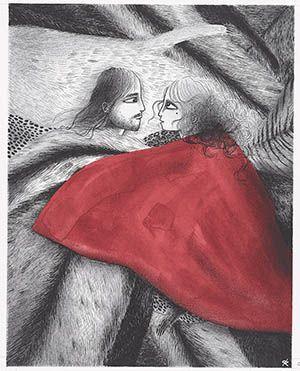Vuur: Otto Hundebiss en Saffier liggen samen in een grot. Ze zijn verliefd.