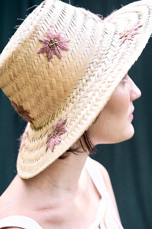 Chapéu de palha margaridas