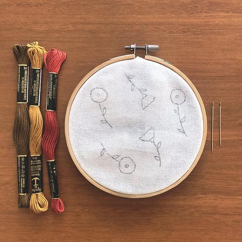 Kit de Bordado Tecido Estampado