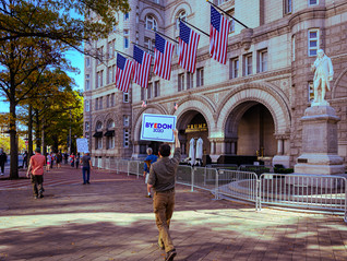 in front of Trump hotel