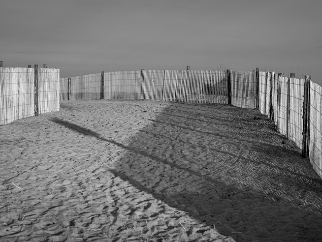 dune fence and shadows