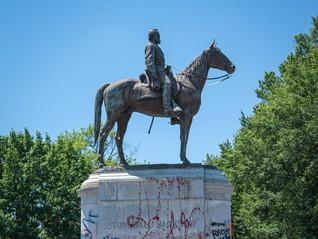 defaced Stonewall Jackson monument