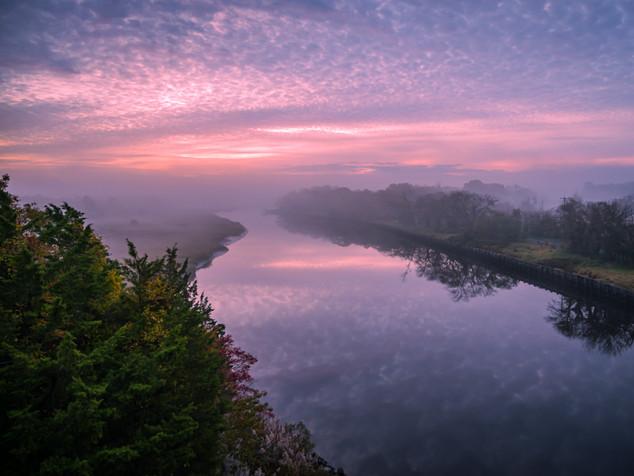 pink sky and fog