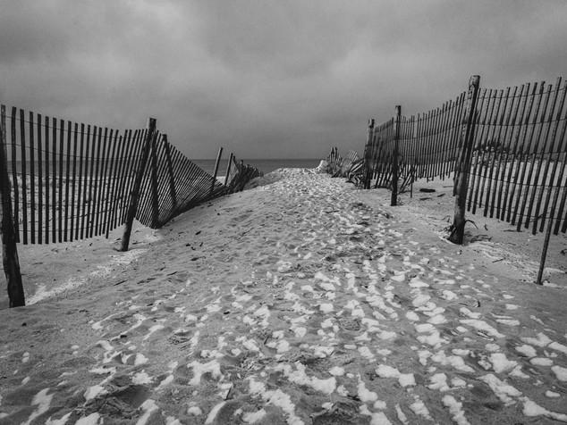 snowy beach path
