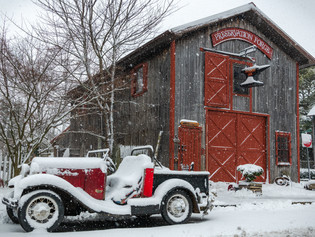 snowy day at Preservation Forge