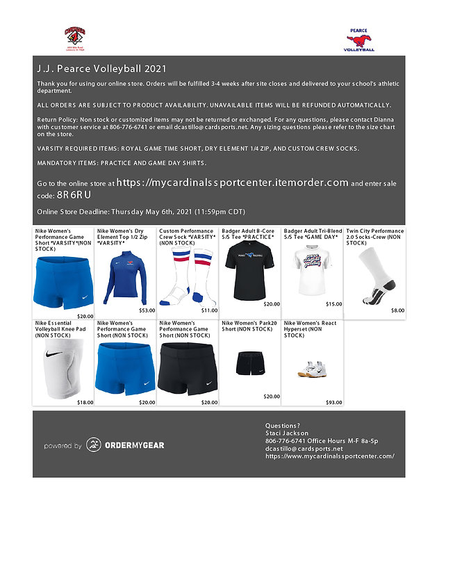 2021-2022 volleyball gear order form inf