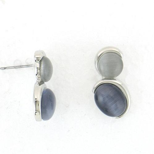 Boucles d'oreille bicolore gris clair gris foncé