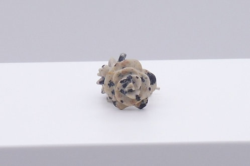 Boucle d'oreille fleur en jaspe dalmatien