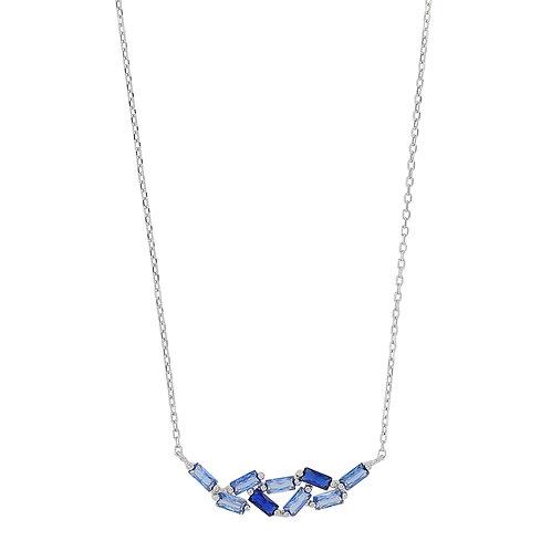 collier en argent et oxyde de zirconium bleu clair