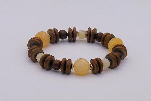 Bracelet en agate jaune et hématite cuivrée
