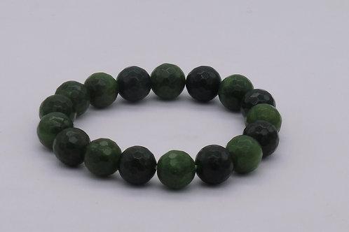 Bracelet en agate verte perles 12 mm à facettes