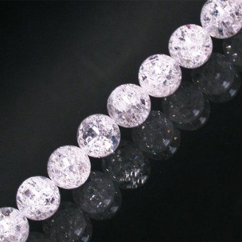 Bracelet en cristal de roche craquelé 10 mm