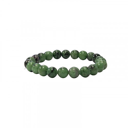 Bracelet en rubis zoisite vert 10 mm
