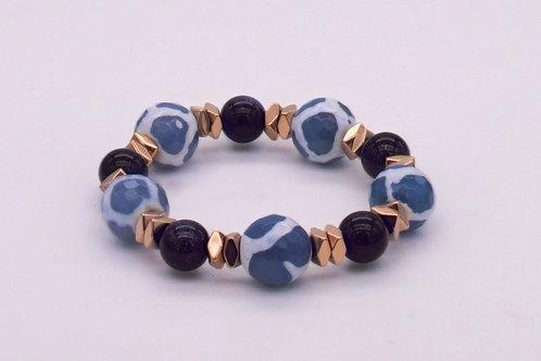 Bracelet en agate bleu et blanche, aventurine bleu foncé et hématite cuivrée