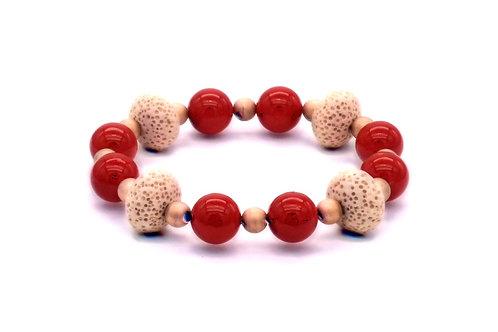 Bracelet en nacre rouge, lave et hématite