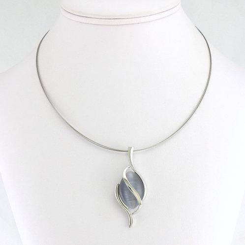 Collier avec pendentif Ovale gris